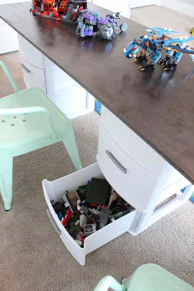 Lego table made from plastic storage drawers