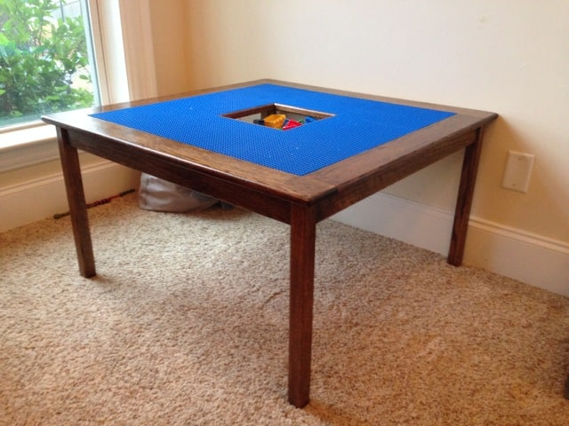 DIY Lego table with center storage bin