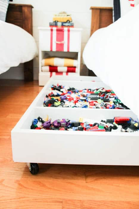DIY rolling under bed Lego storage tray