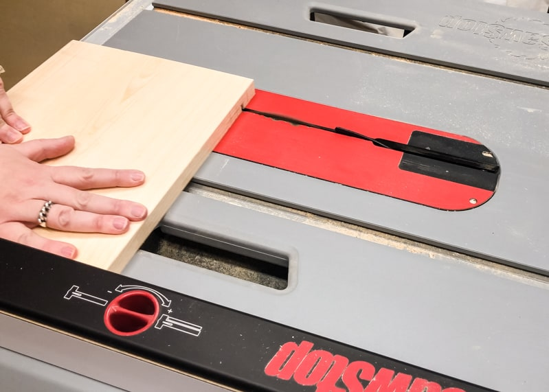 cutting slots for lego baseplates in sides of lego bin with table saw