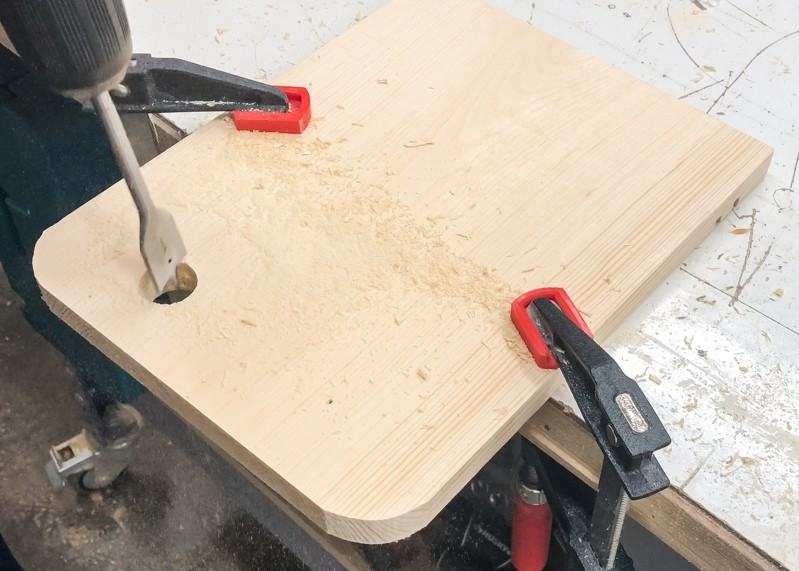 Finishing handle hole from opposite side