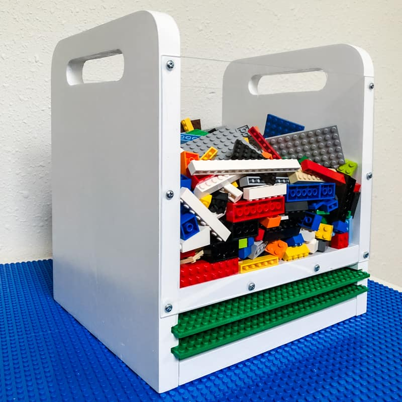 This DIY Lego bin is perfect for taking them on the go!
