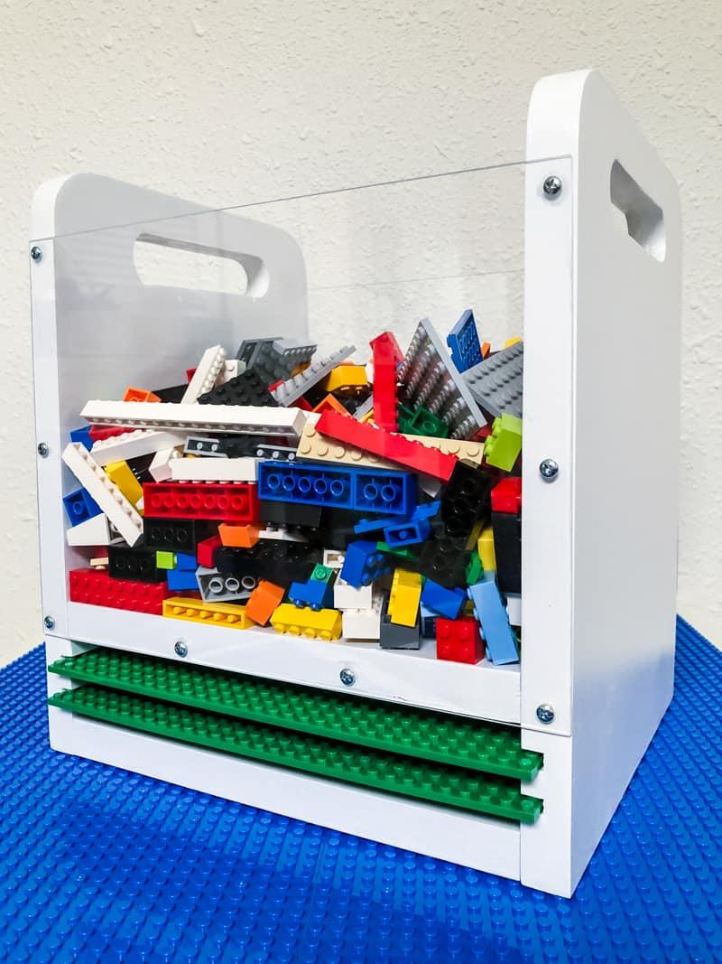 DIY Lego bin with baseplates and plexiglass sides