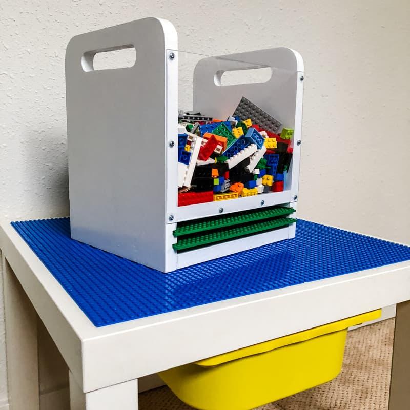 DIY Lego bin on top of DIY Lego table