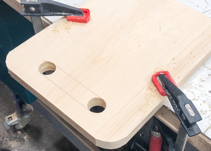 handles marked for DIY lego bin