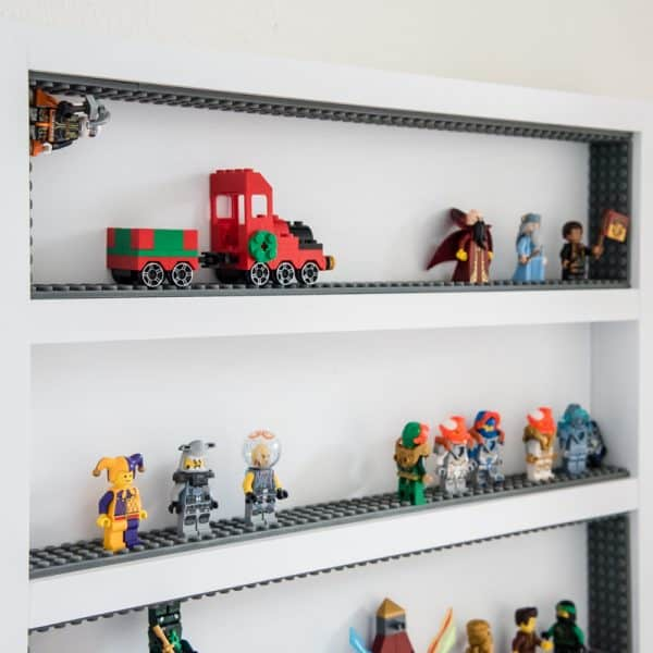 lego minifigure display case - first two shelves