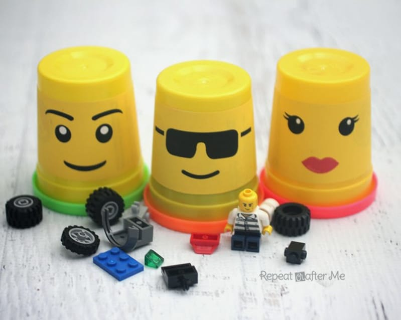 DIY Lego storage containers from Play Doh containers