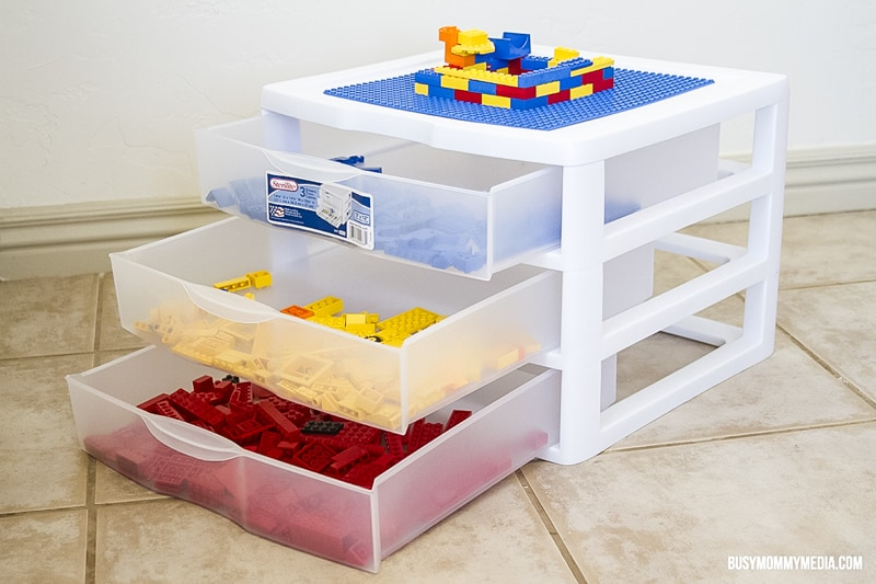 Lego table made from plastic drawers