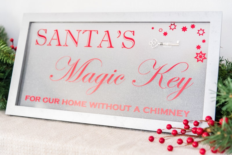 Santa's Magic Key sign with antique key attached