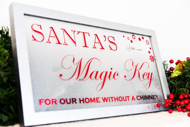 Santa's Magic Key for our home without a chimney sign