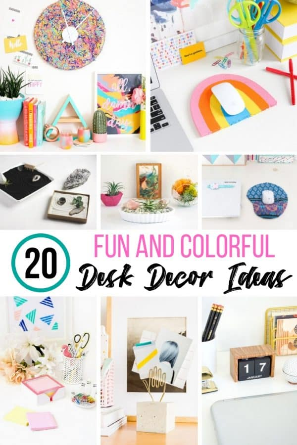 collage of colorful DIY desk decor ideas