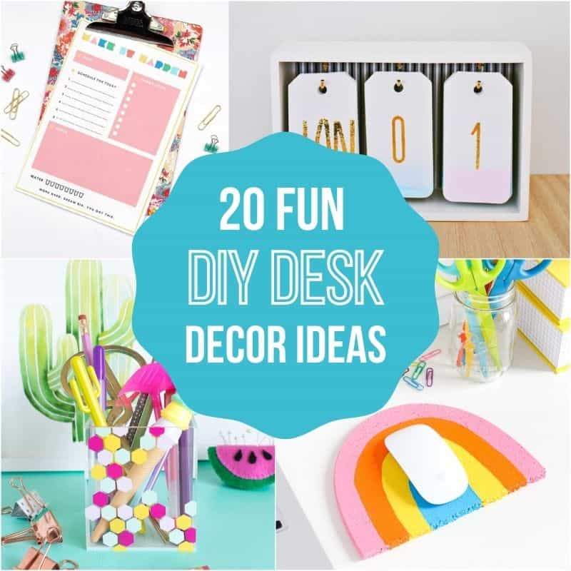 image collage of DIY desk decor ideas