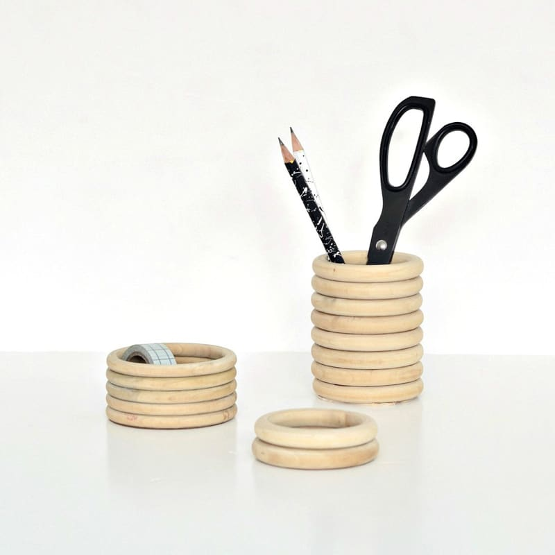 DIY desk decor - wood ring pencil cup