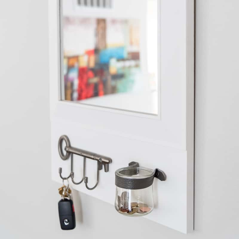 DIY entryway mirror with change jar and key hooks