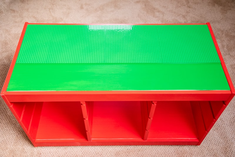 IKEA Lego table with baseplates on half of top
