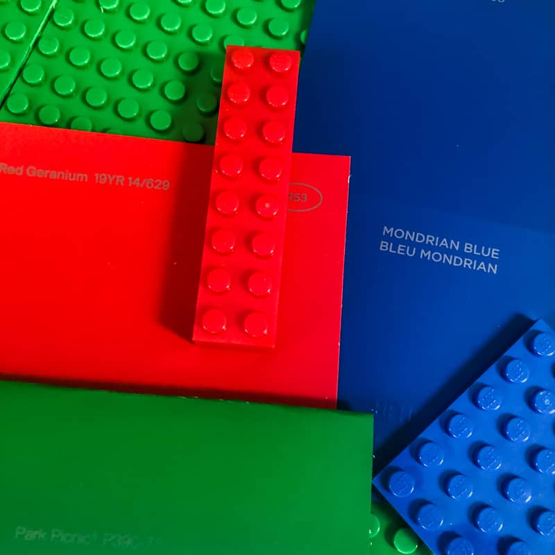 lego pieces with corresponding paint color swatches
