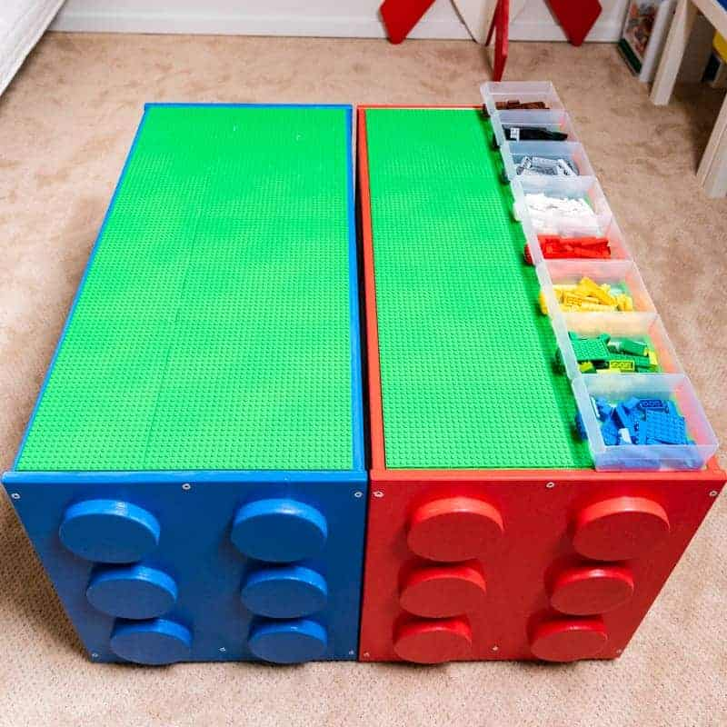 IKEA Lego table hack with sorting bins on top