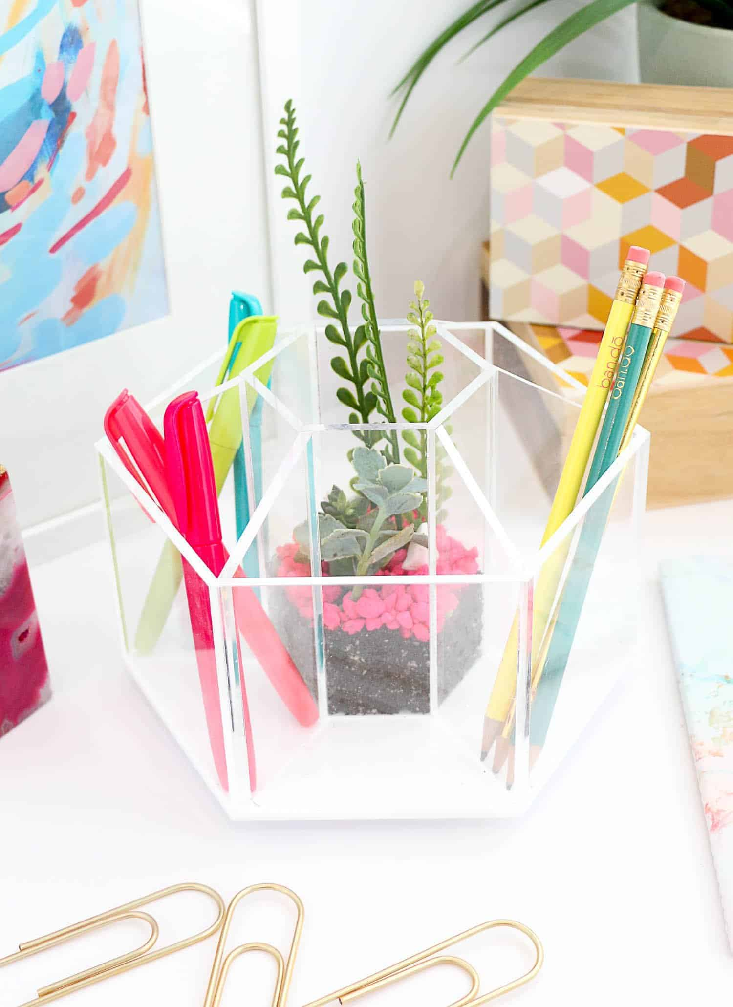 DIY desk decor - terrarium desk organizer