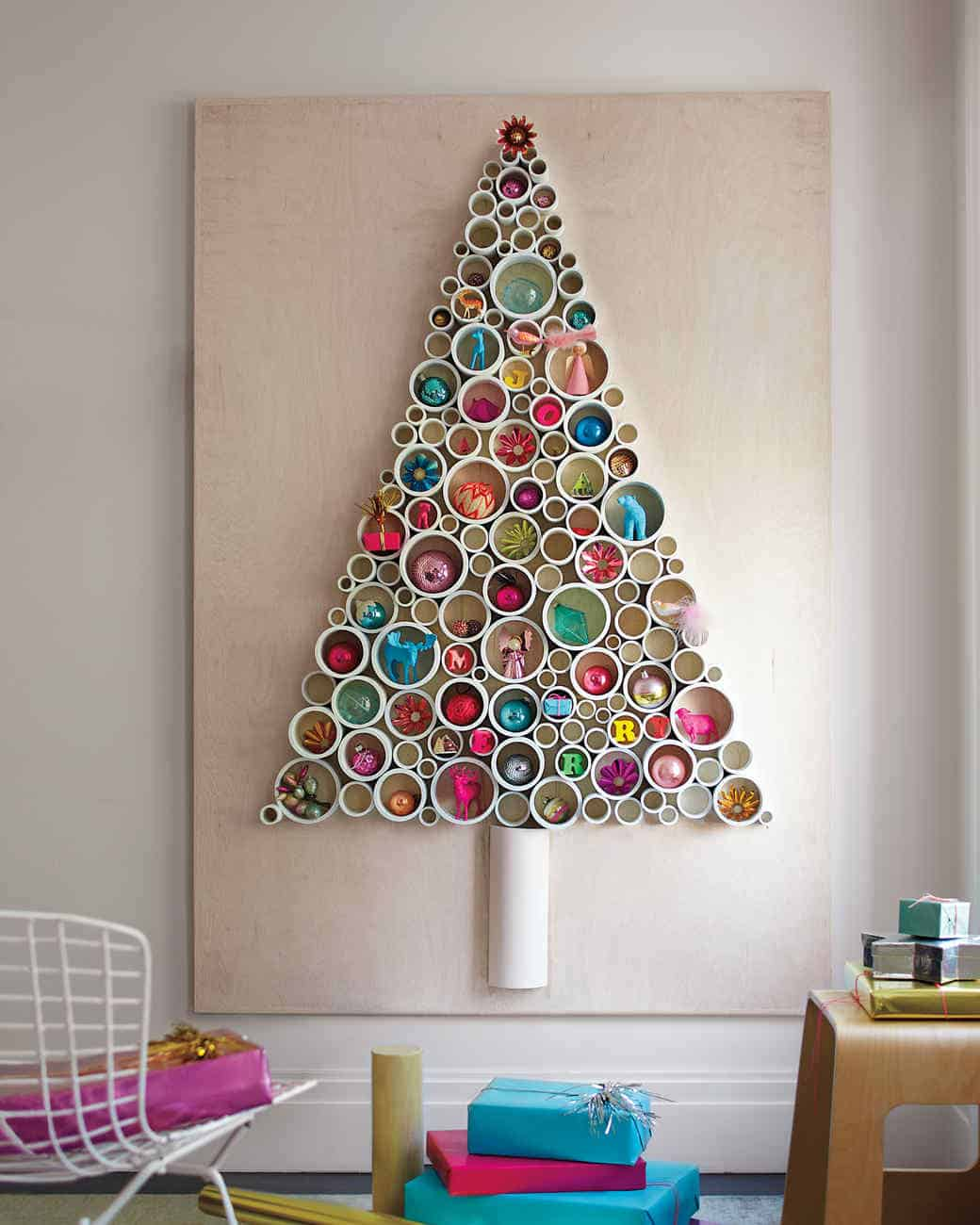Christmas tree made out of PVC pipe
