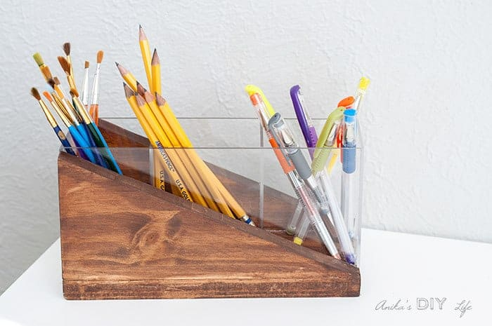 DIY Desk Decor - wood and acrylic pencil holder