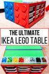 The Ultimate IKEA Lego table with side and top views of IKEA Trofast drawer units made to look like giant Lego blocks