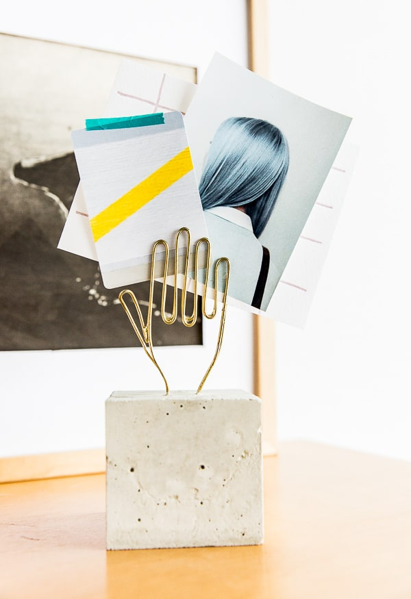 DIY desk decor - wire hand paper holder with concrete base