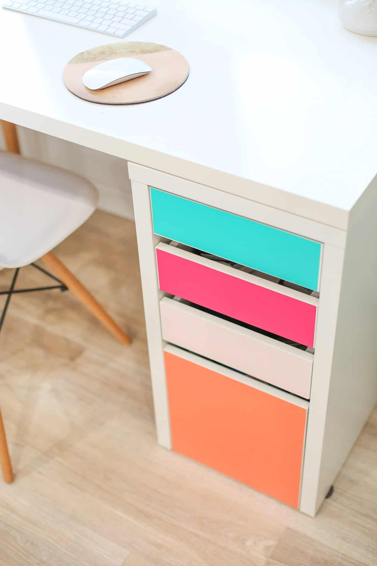 DIY desk decor - no paint colorful drawer fronts