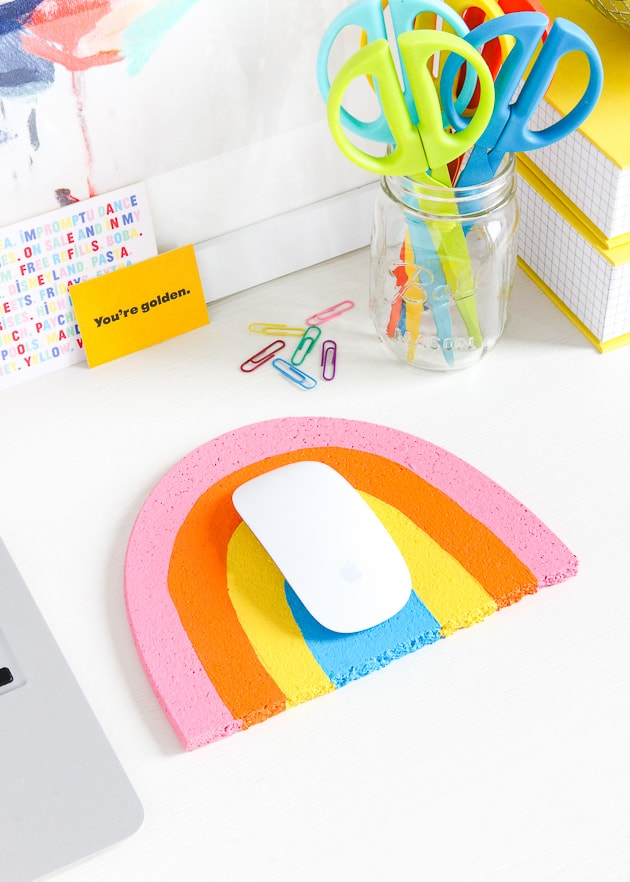 DIY desk decor - rainbow mousepad