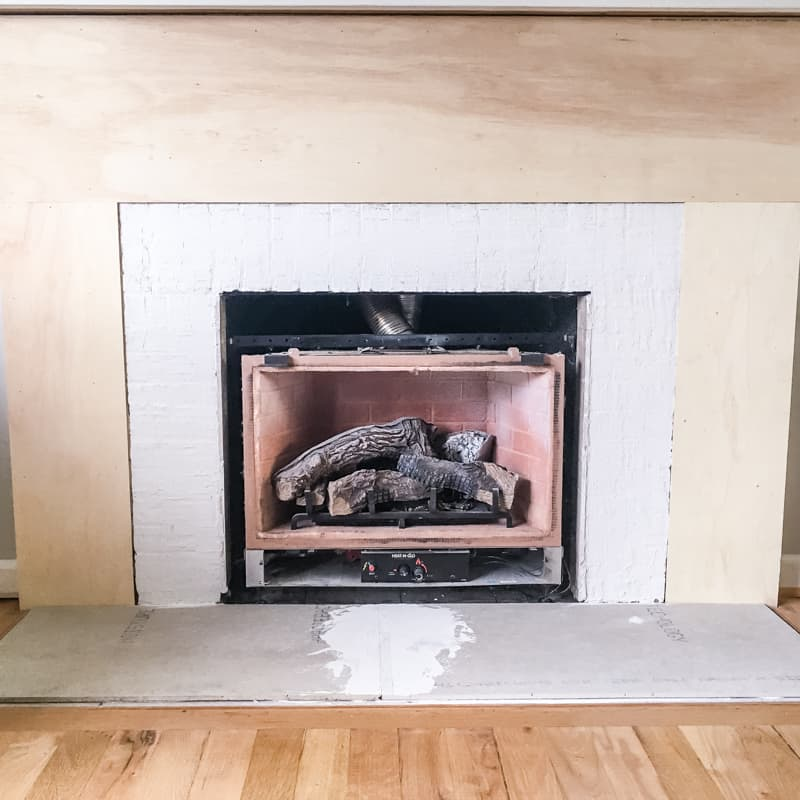 fireplace surround prepped for tile