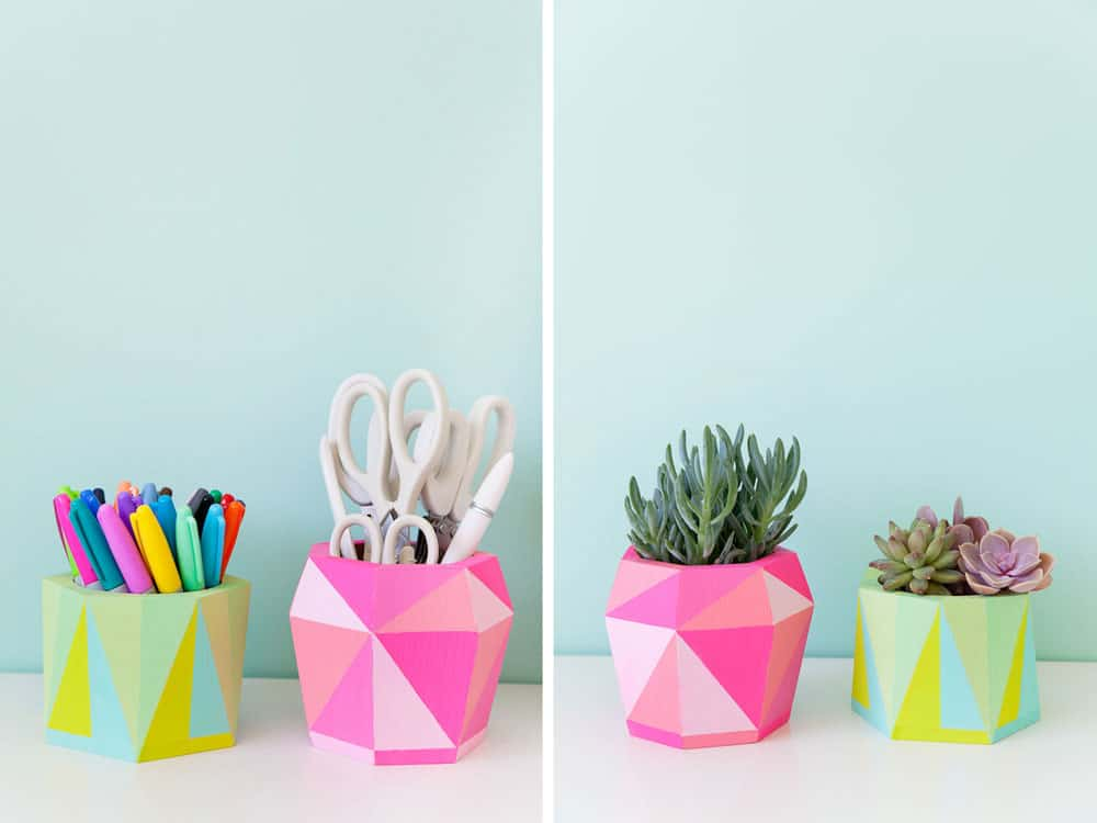 DIY desk decor - geometric pots used as a pencil cup or planter