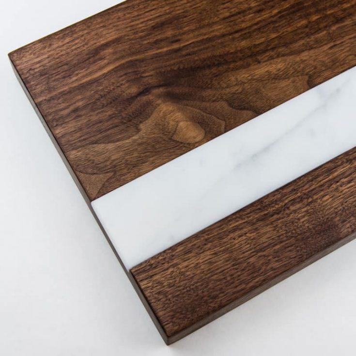 DIY cutting board with marble inlay