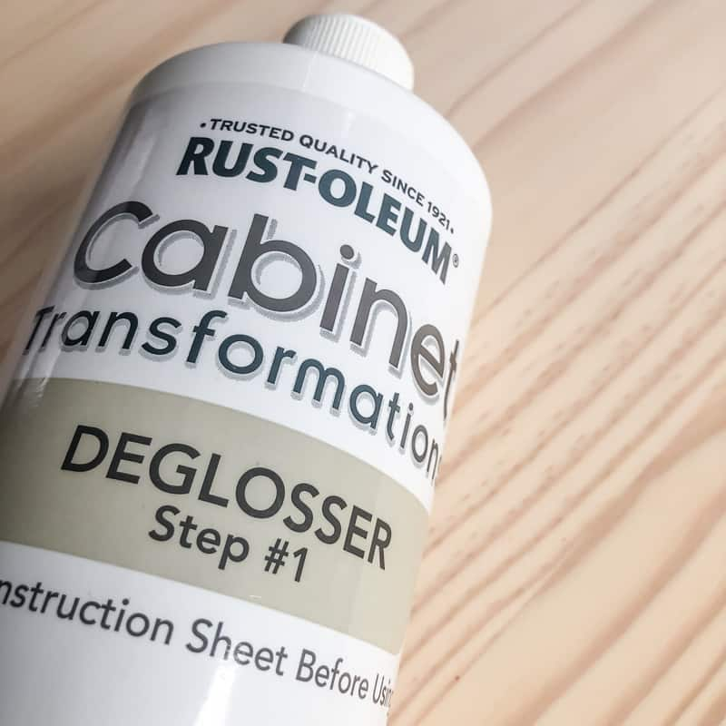 Rustoleum Cabinet Transformations deglosser on pine wood background