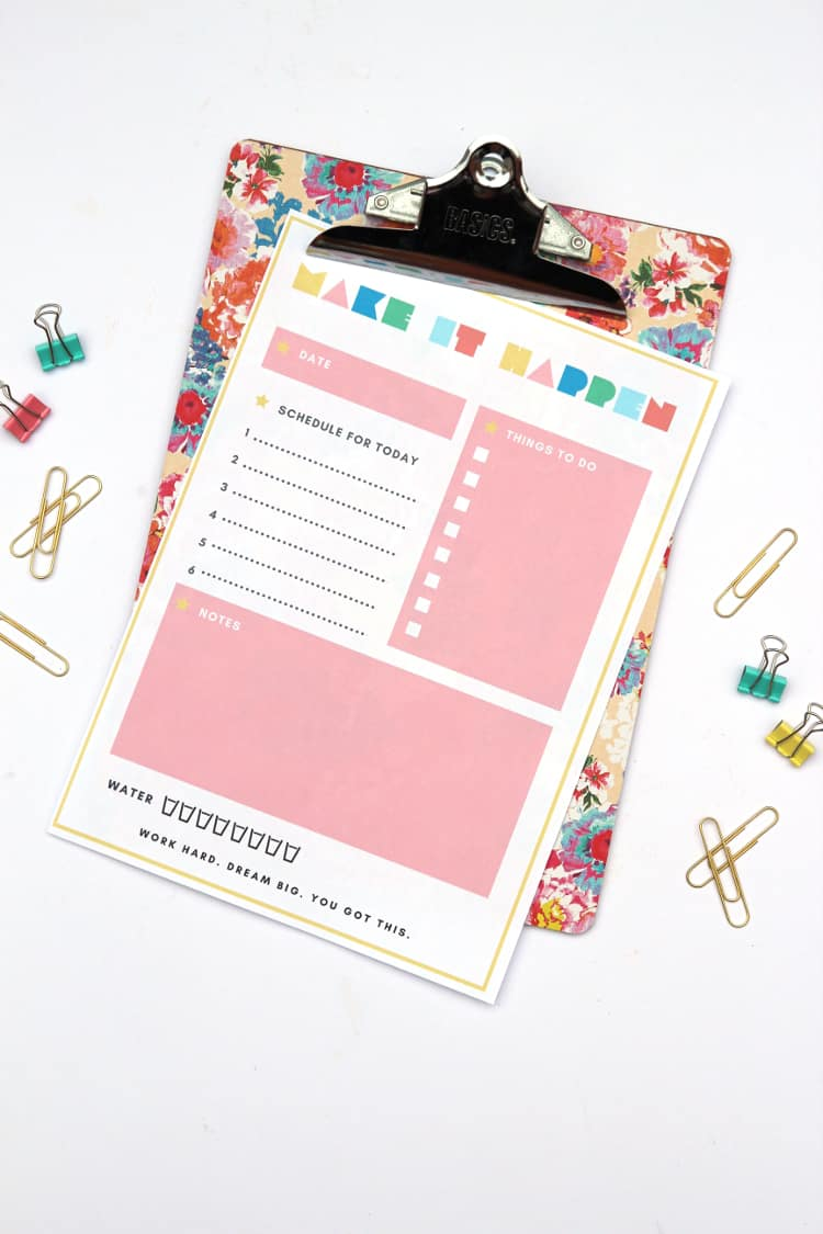 DIY desk decor - wrapping paper covered clipboard