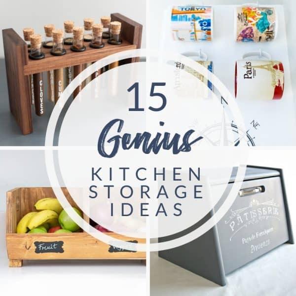 collage of 15 genius DIY kitchen storage ideas