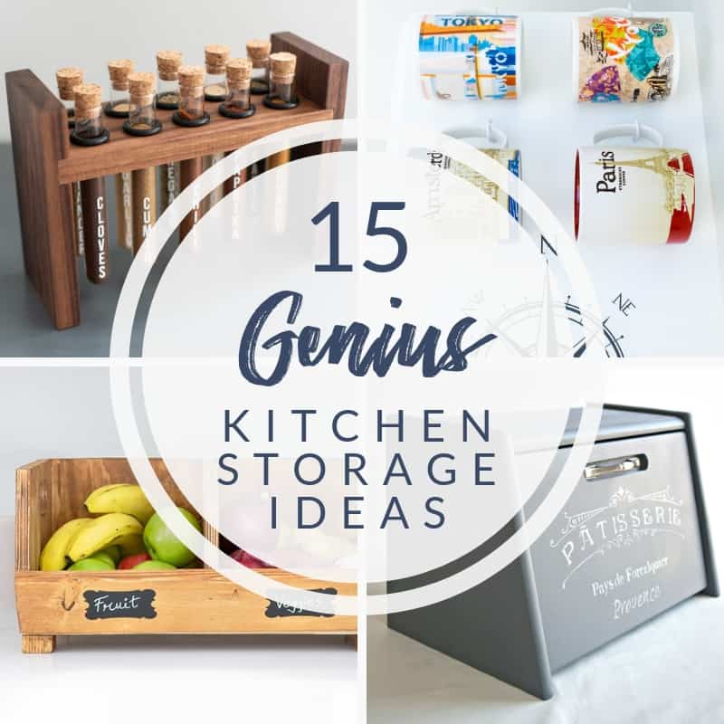 collage of 15 genius DIY kitchen storage ideas