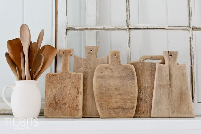 various patterns of antique looking cutting boards