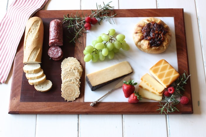 DIY cutting board with marble cheese plate
