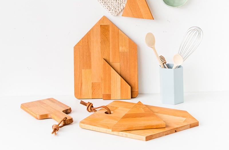 IKEA cutting boards cut into geometric shapes
