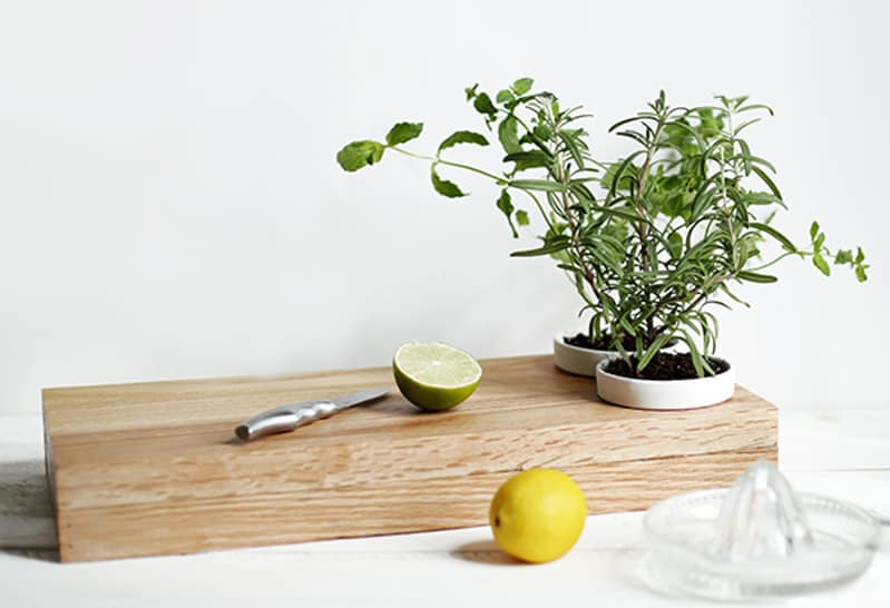 cutting board with herb planters