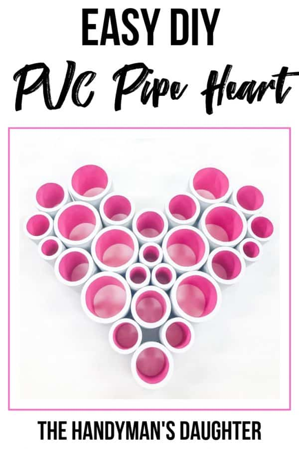 Easy DIY PVC Pipe Heart with white outside and pink inside pipes
