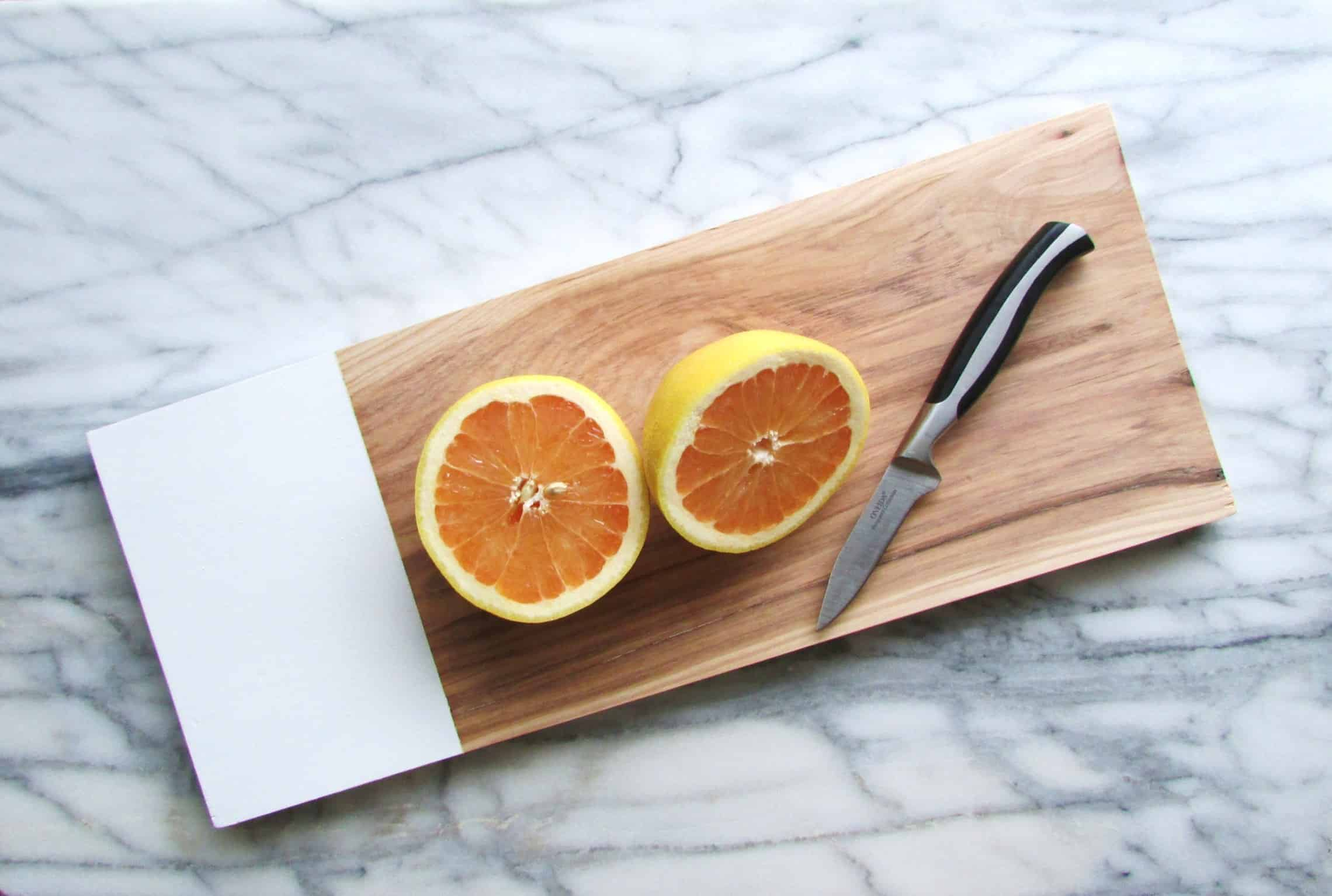 DIY cutting board with white painted end