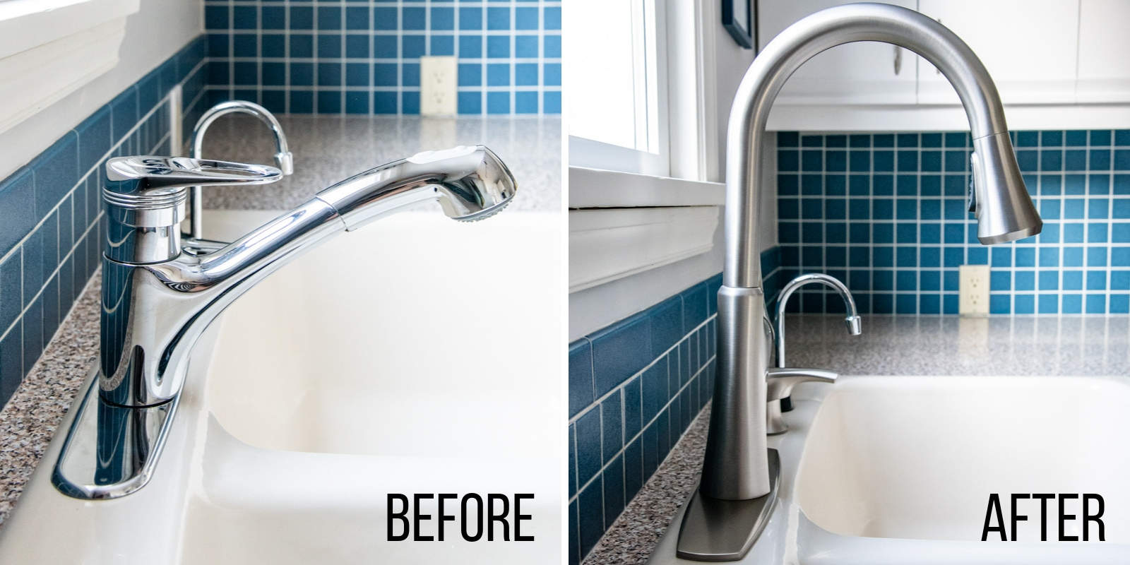 before and after kitchen faucet installation