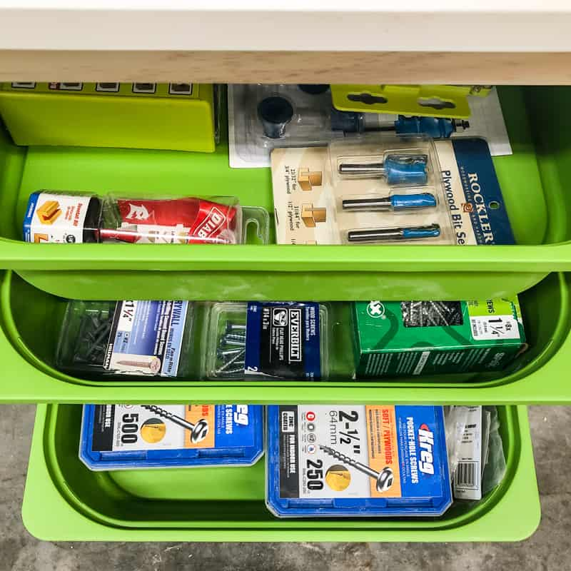 IKEA Trofast bins filled with woodworking tools and screws
