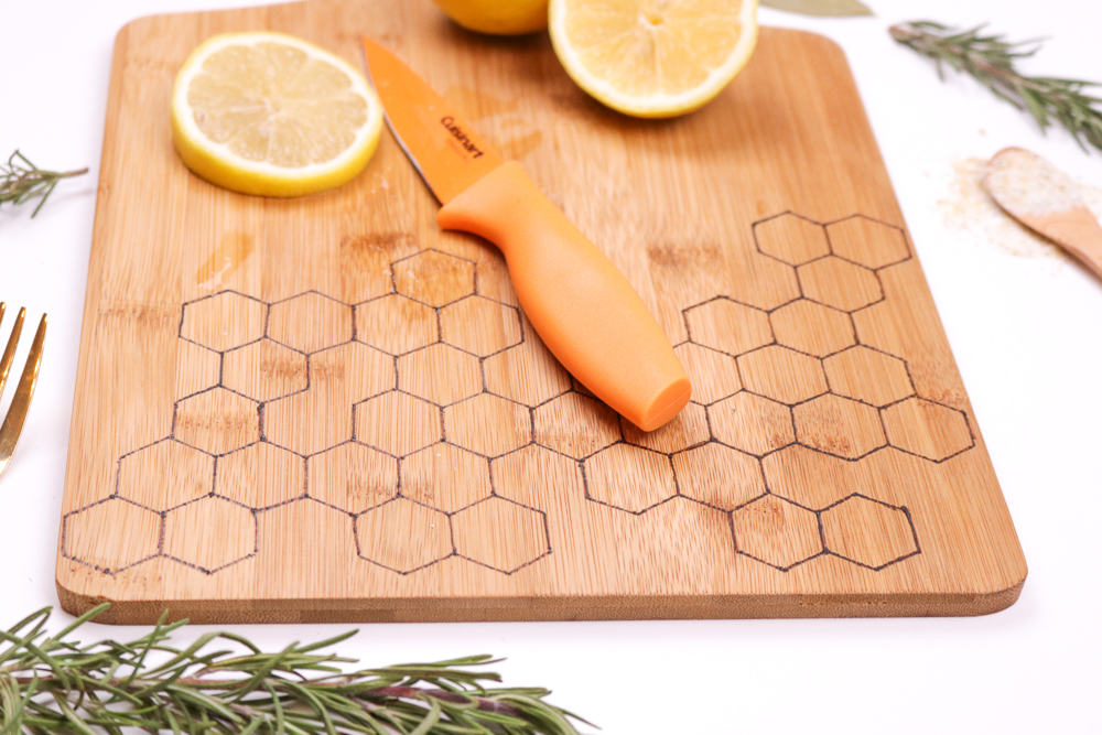 cutting board with honeycomb pattern burned into it