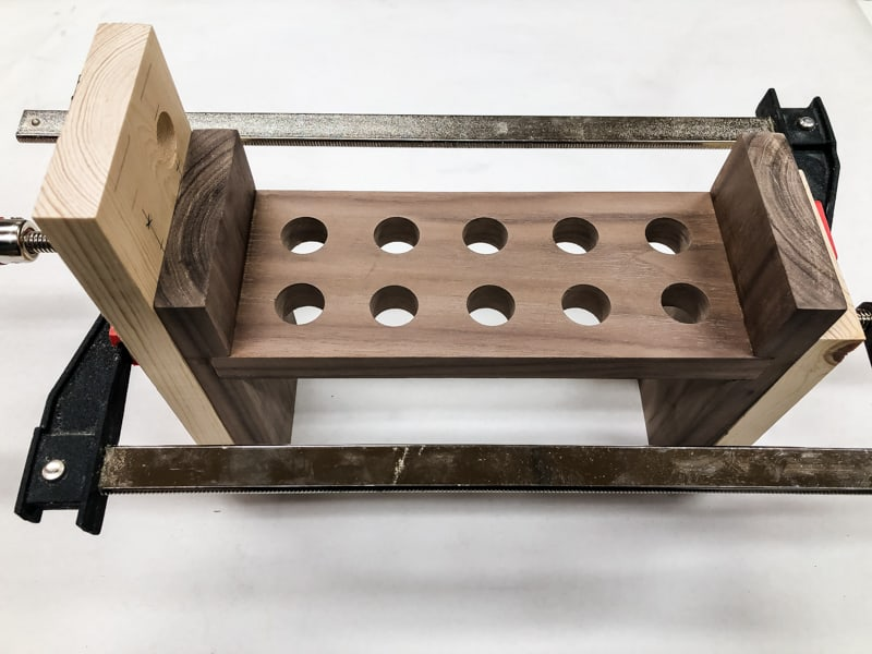 DIY spice rack clamped together