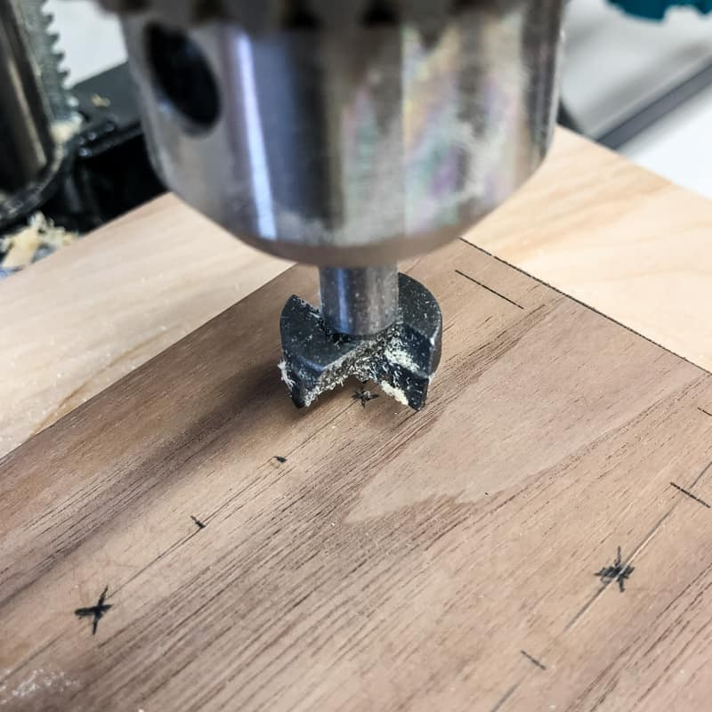 drilling holes with forstner bit in drill press