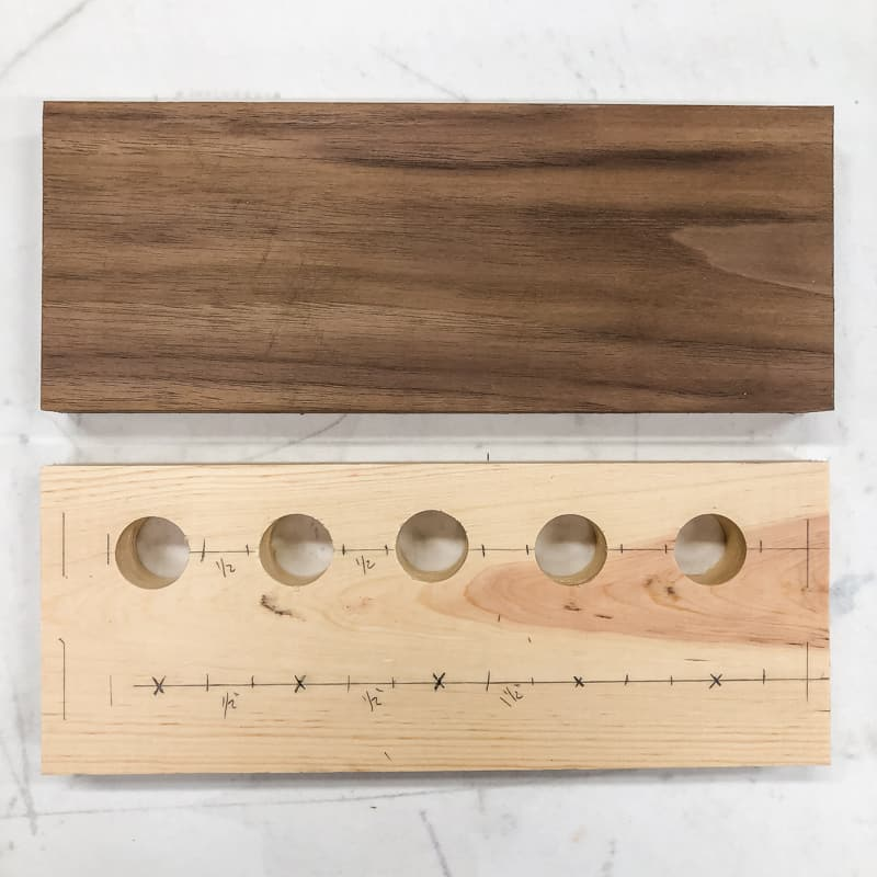 test board and walnut board for DIY spice rack
