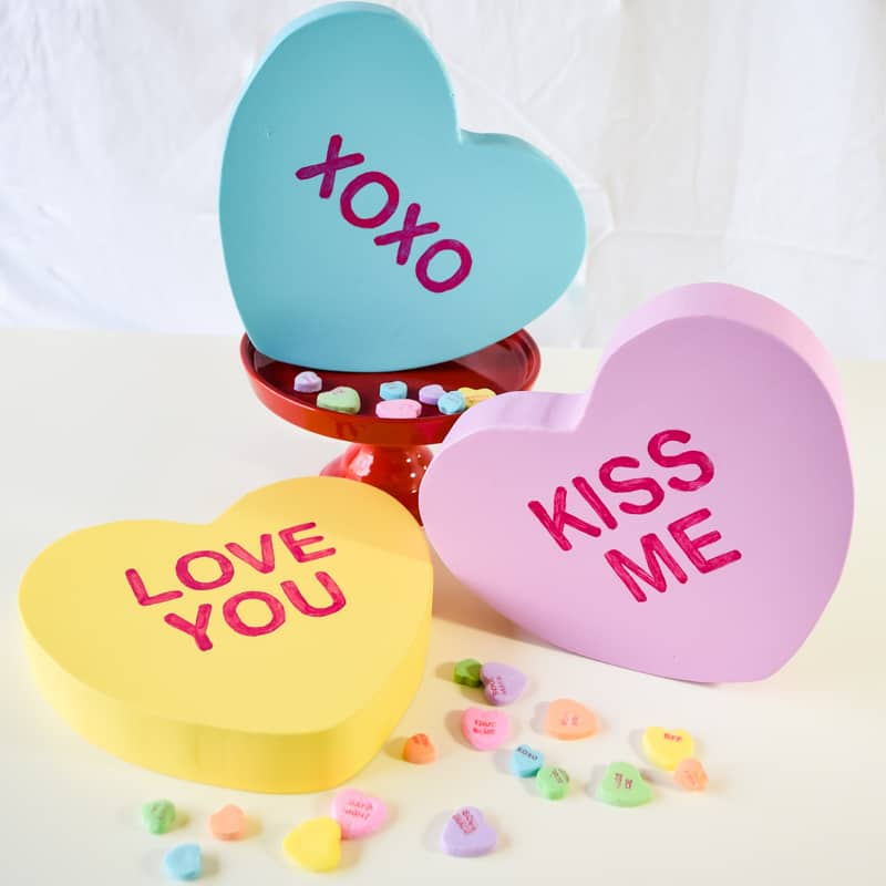 giant wooden conversation hearts
