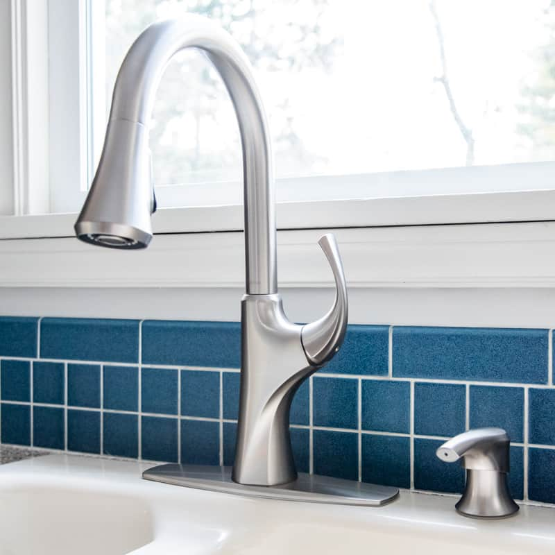 Pfister Miri kitchen faucet and soap dispenser
