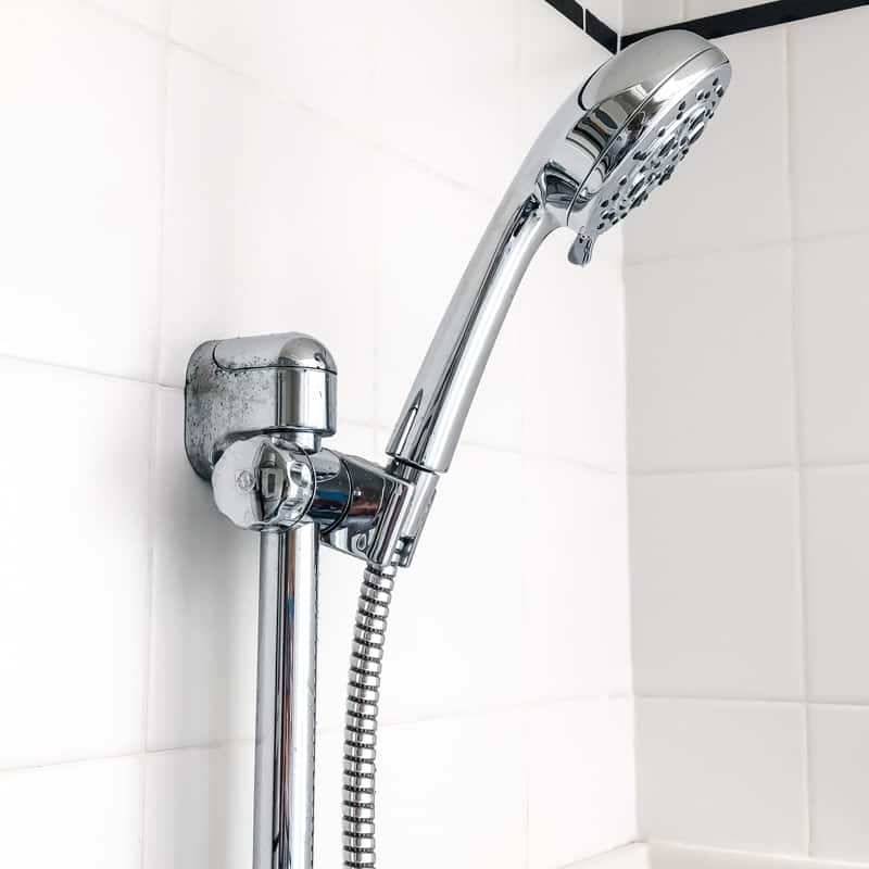 new Pfister Vie handheld shower head mounted in bracket